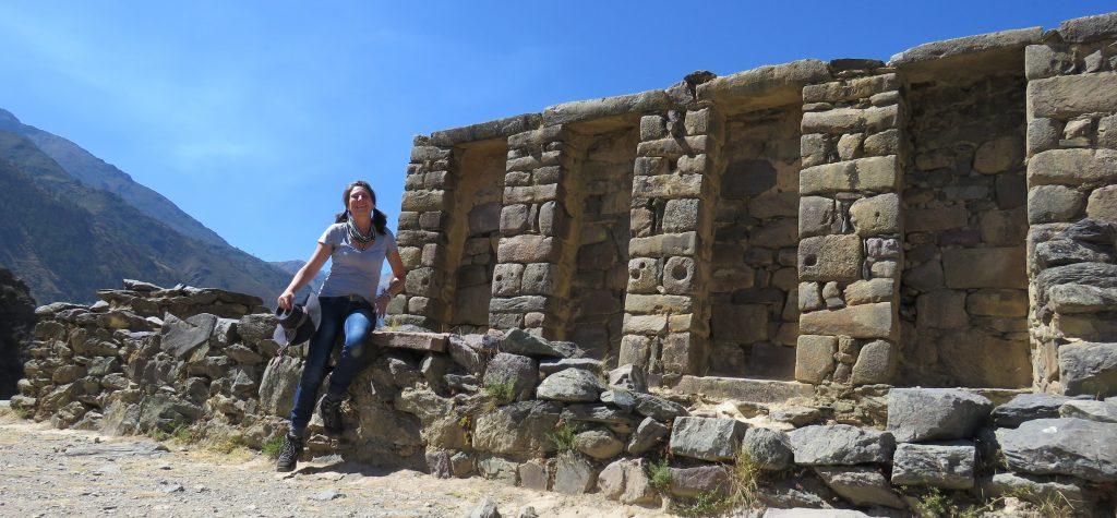 Karen at the top Ollantaytambo
